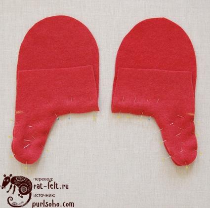 Заготовки рукавиц перед сшиванием