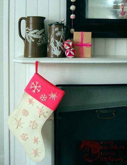 Супер простые рождественские сапожки со снежинками
