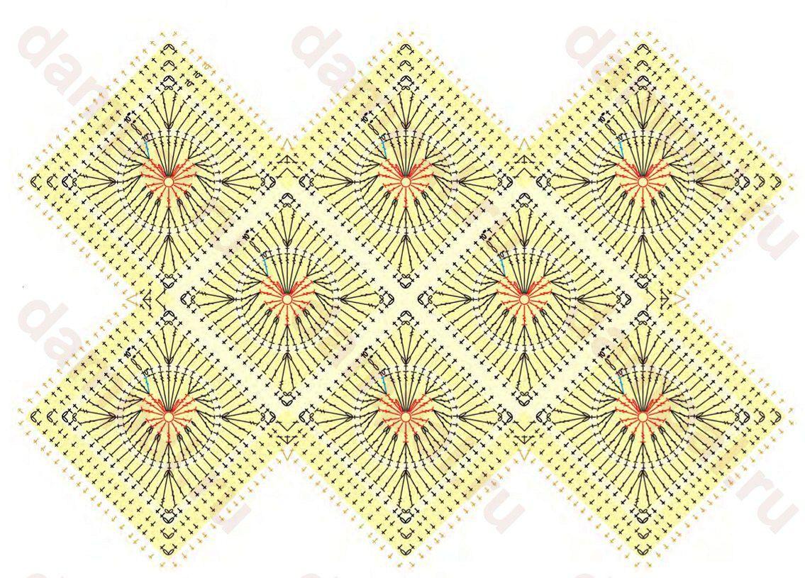 Вязание пледа крючком из сердечек 144